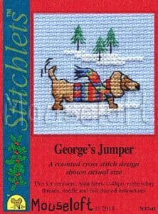 Mouseloft George's Jumper Card Christmas Stitchlets cross stitch kit